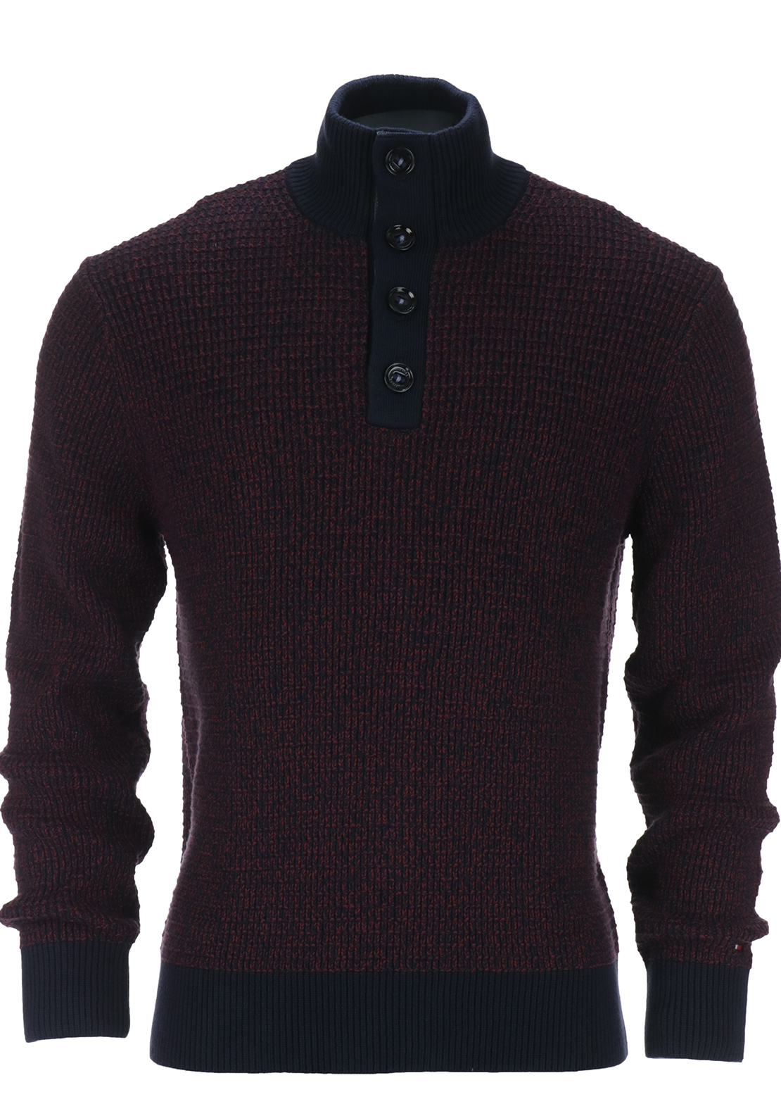 Tommy Hilfiger Mens Tylor Chunky Knit Jumper, Wine and Navy