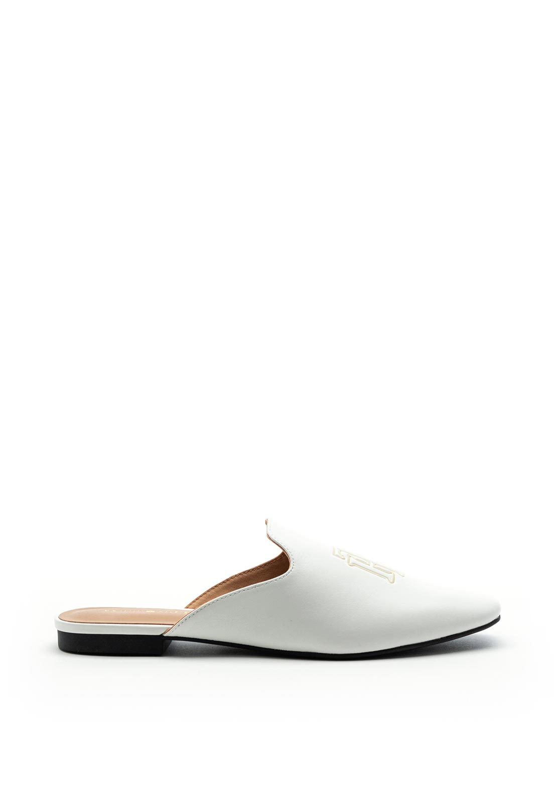 Tommy Hilfiger Womens Monogram Leather Flat Mules, White