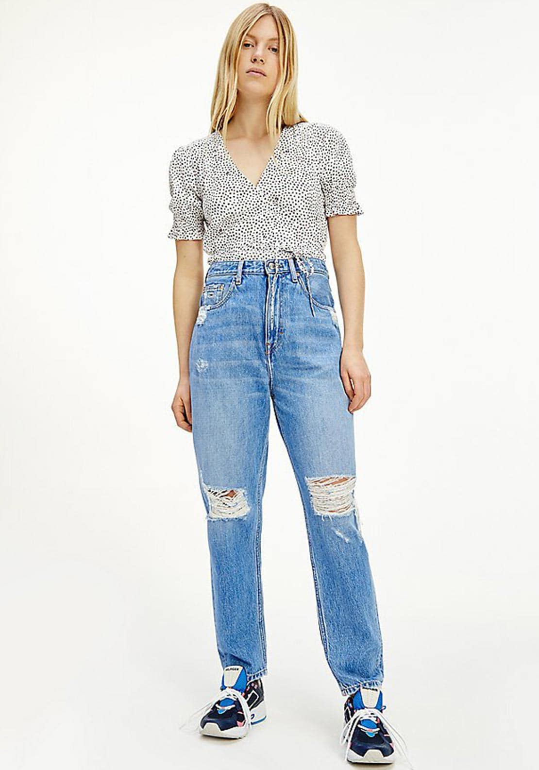 Tommy Jeans Ultra High Ripped Mom Jeans, Blue