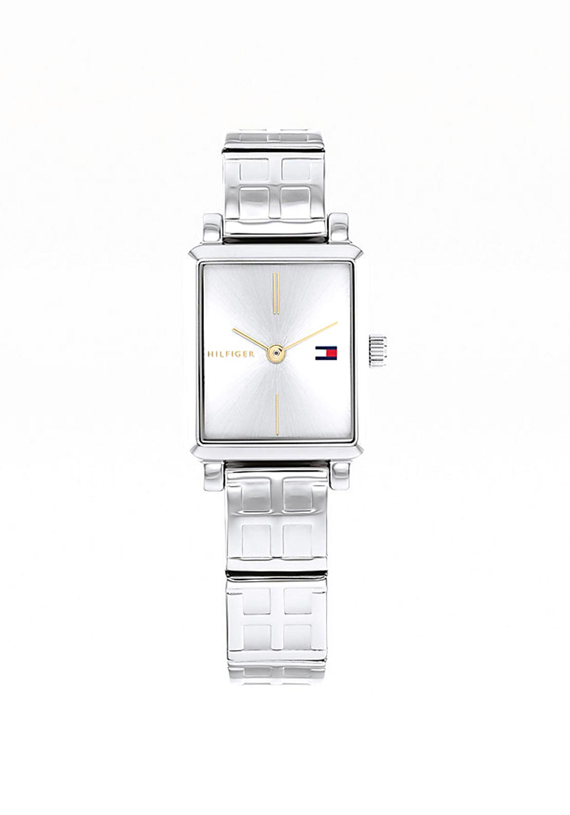 Tommy Hilfiger Womens Monogram Square Face Watch, Silver