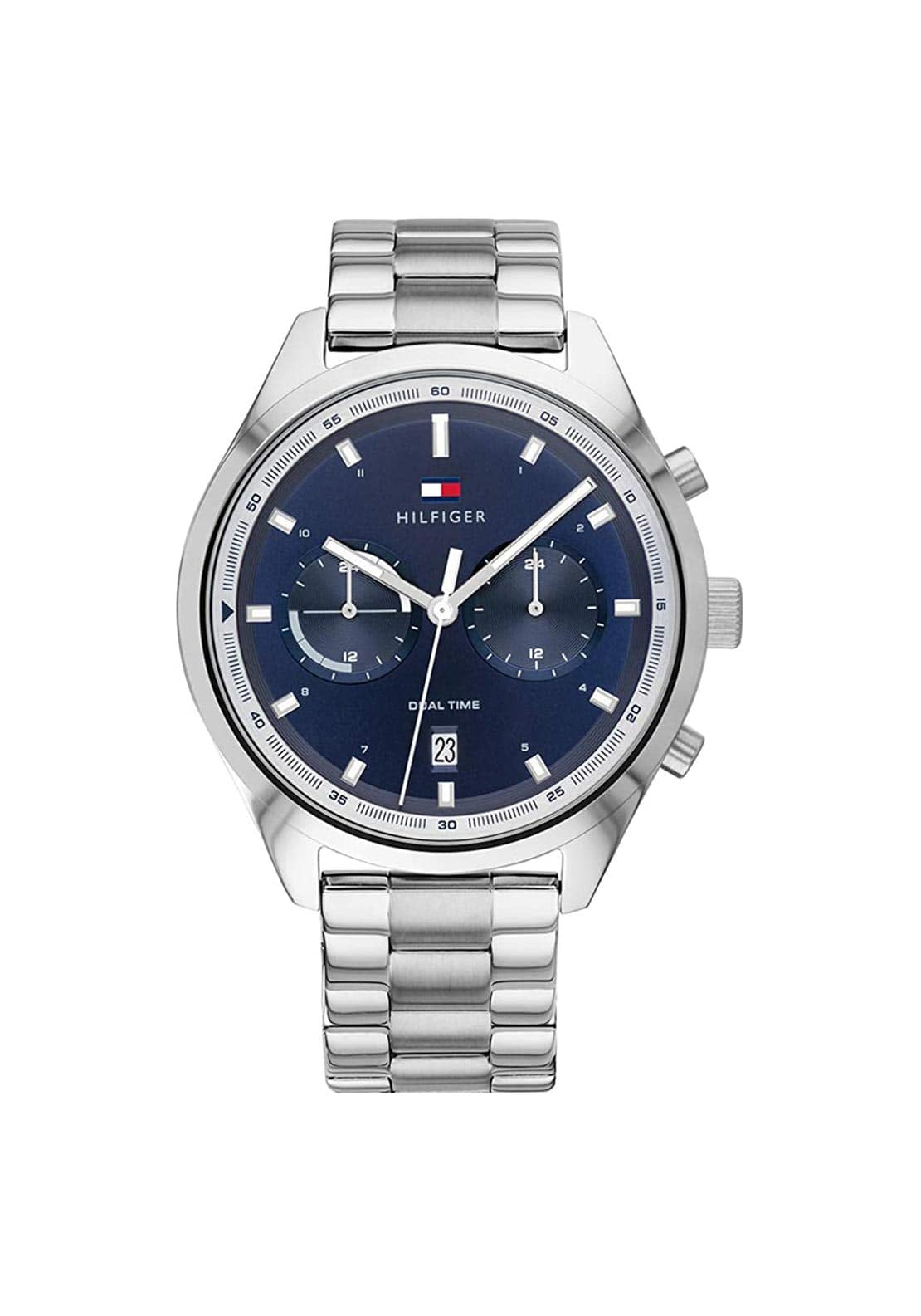 Tommy Hilfiger Mens Dual Time Stainless Steel Watch, Silver
