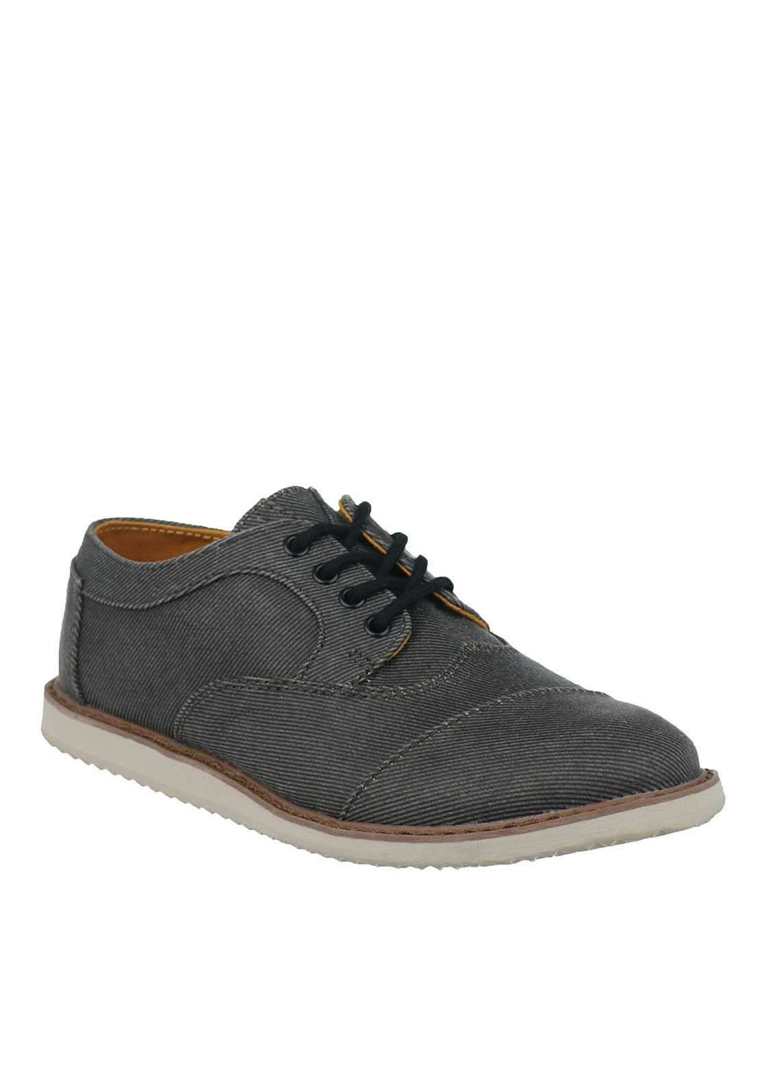 TOMS Boys Twill Brogue Shoes, Grey