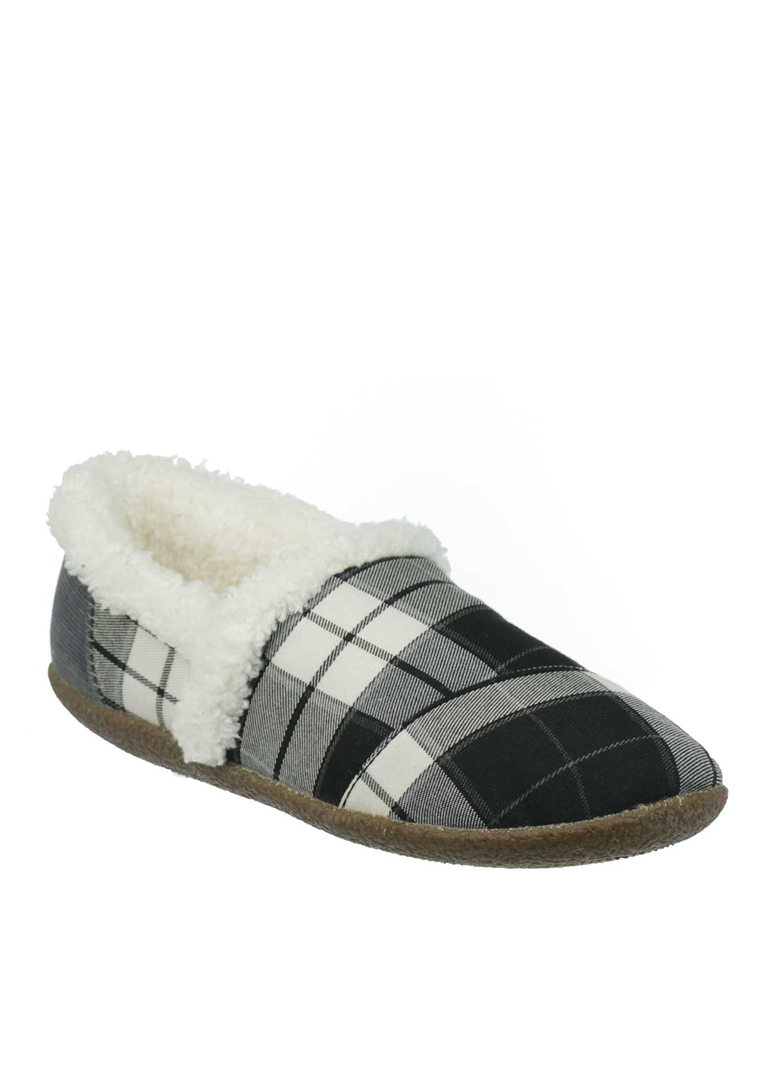 TOMS Womens Plaid House Slippers, Black