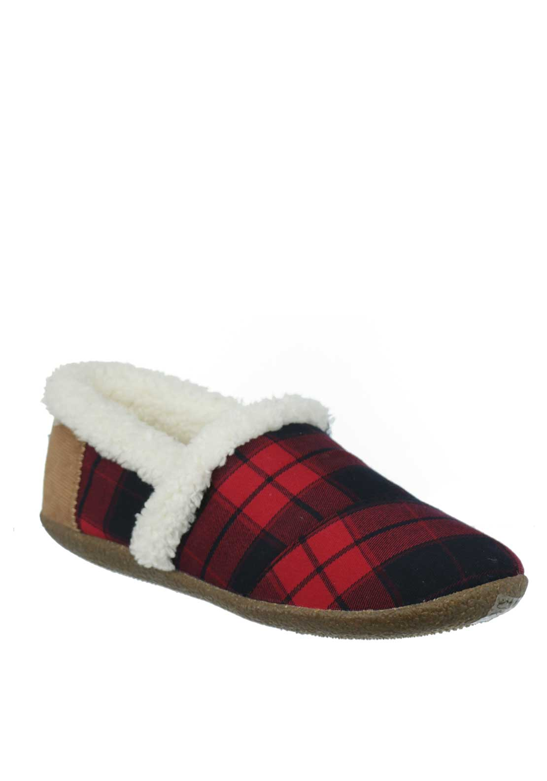 TOMS Womens Plaid House Slippers, Red