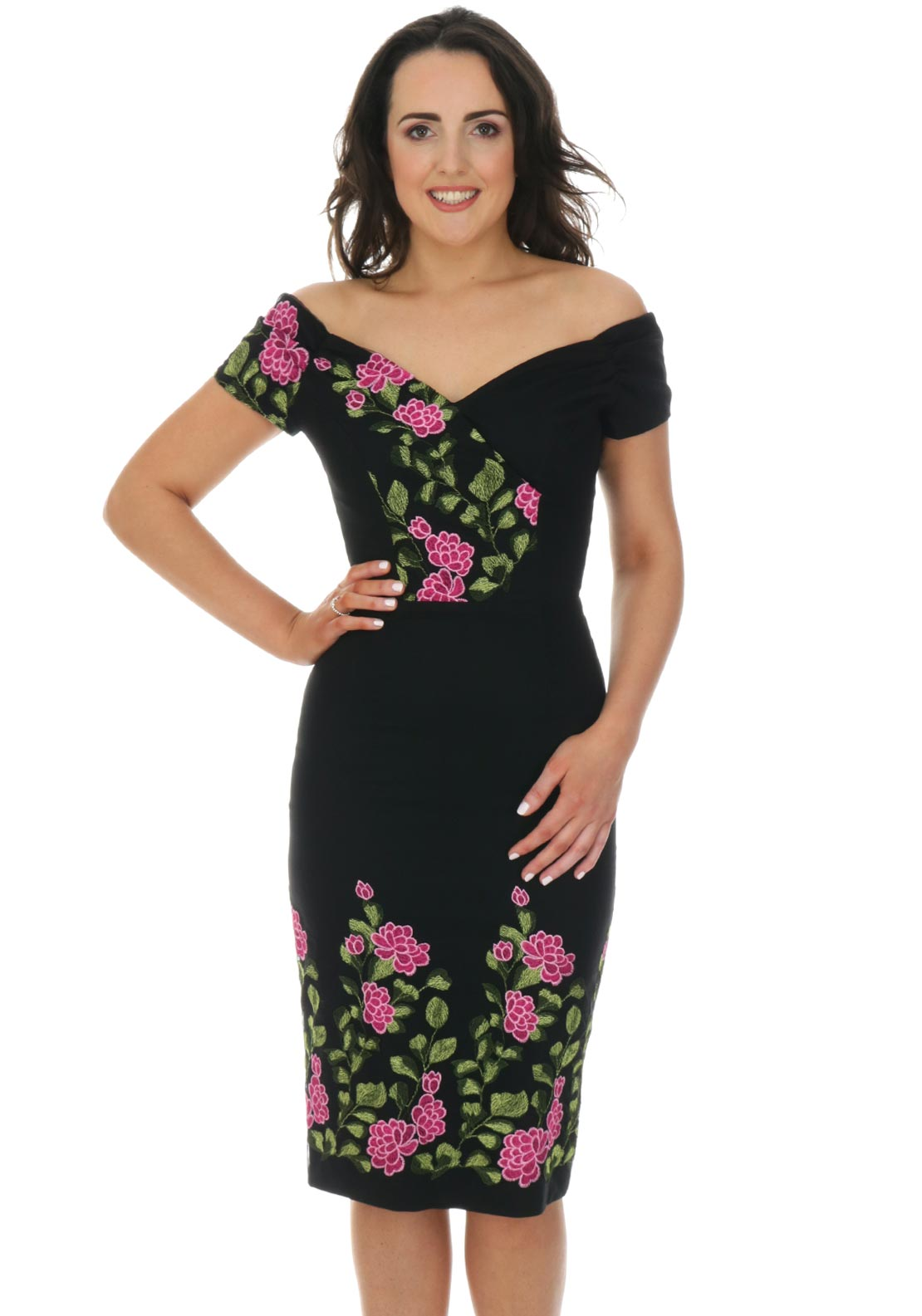 The Pretty Dress Company Fatale Embroidered Dress, Black & Pink