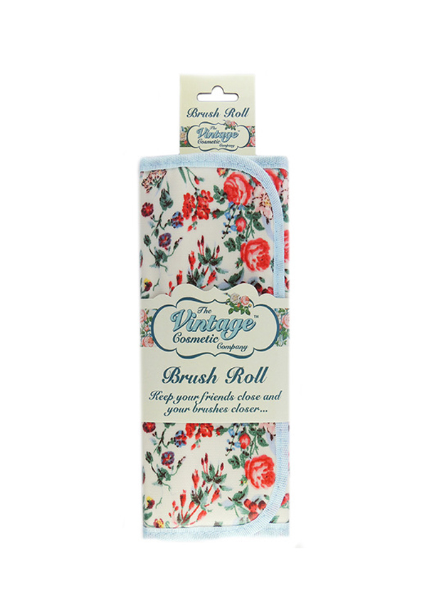 The Vintage Cosmetic Company Vintage Floral Brush Roll