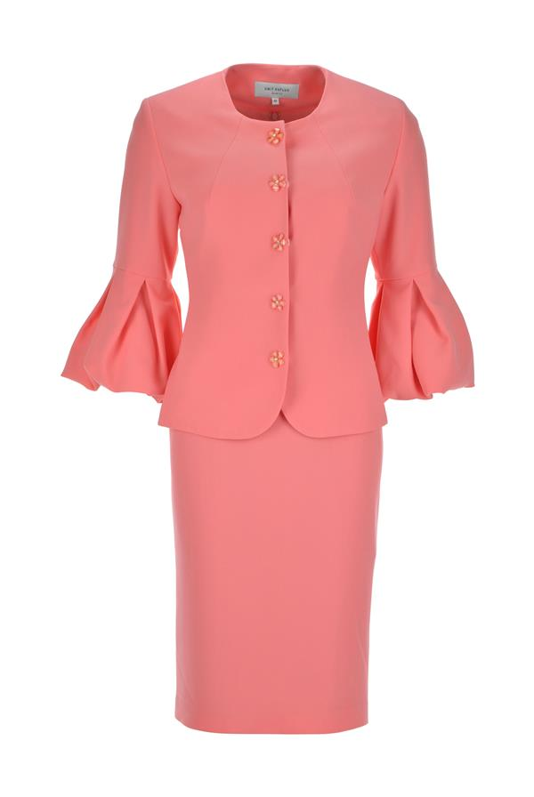 Umit Kutluk Crepe Dress And Jacket Outfit, Coral