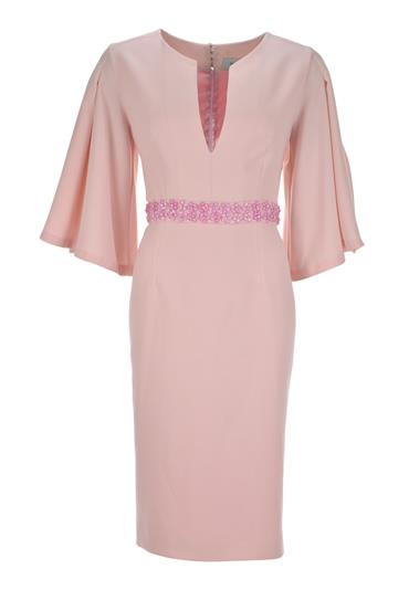 Umit Kutluk Cherry Bat Wing Sleeve Dress, Pale Pink