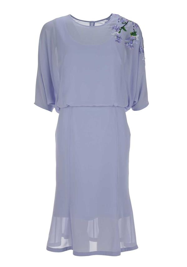Umit Kutluk Cap Sleeve Dress with Floral Detail, Lilac