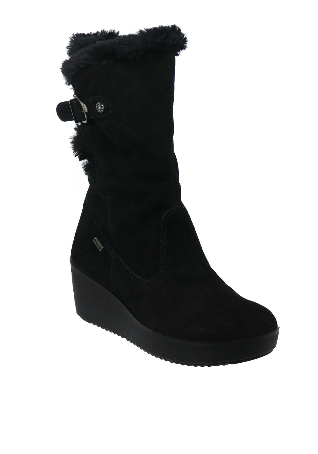 Van Dal Grove Suede Faux Fur Wedged Boots, Black