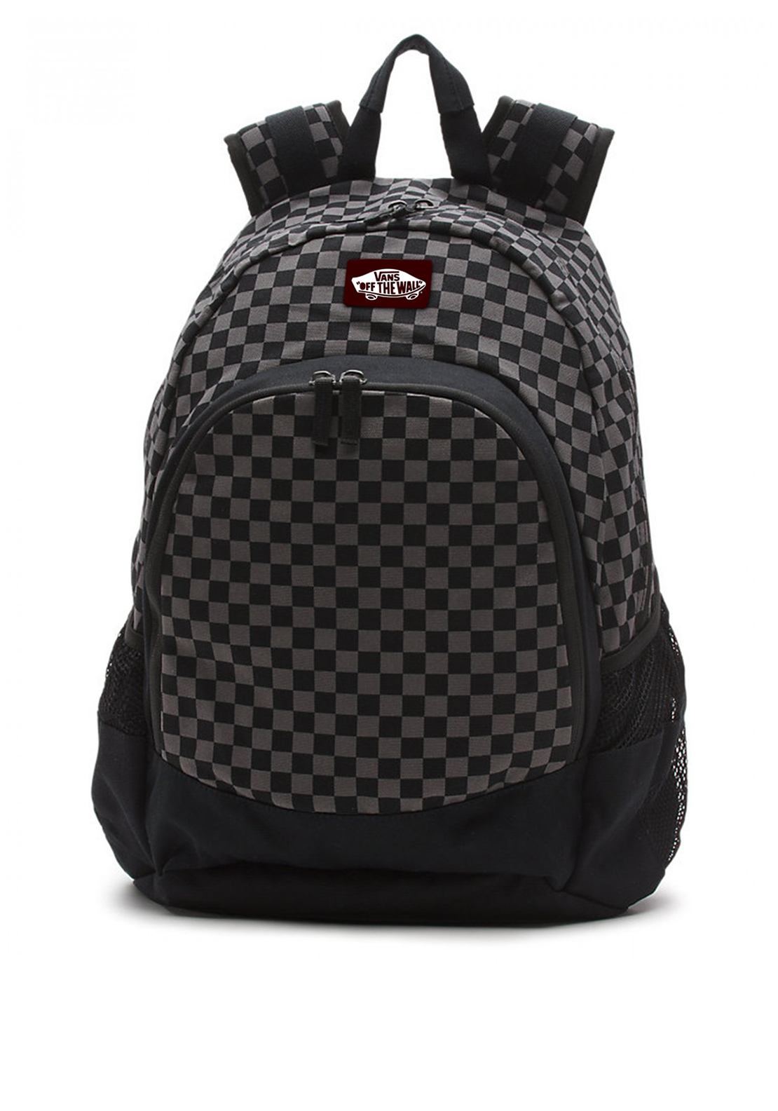 Vans Doren Chequered Backpack Schoolbag, Black and Grey