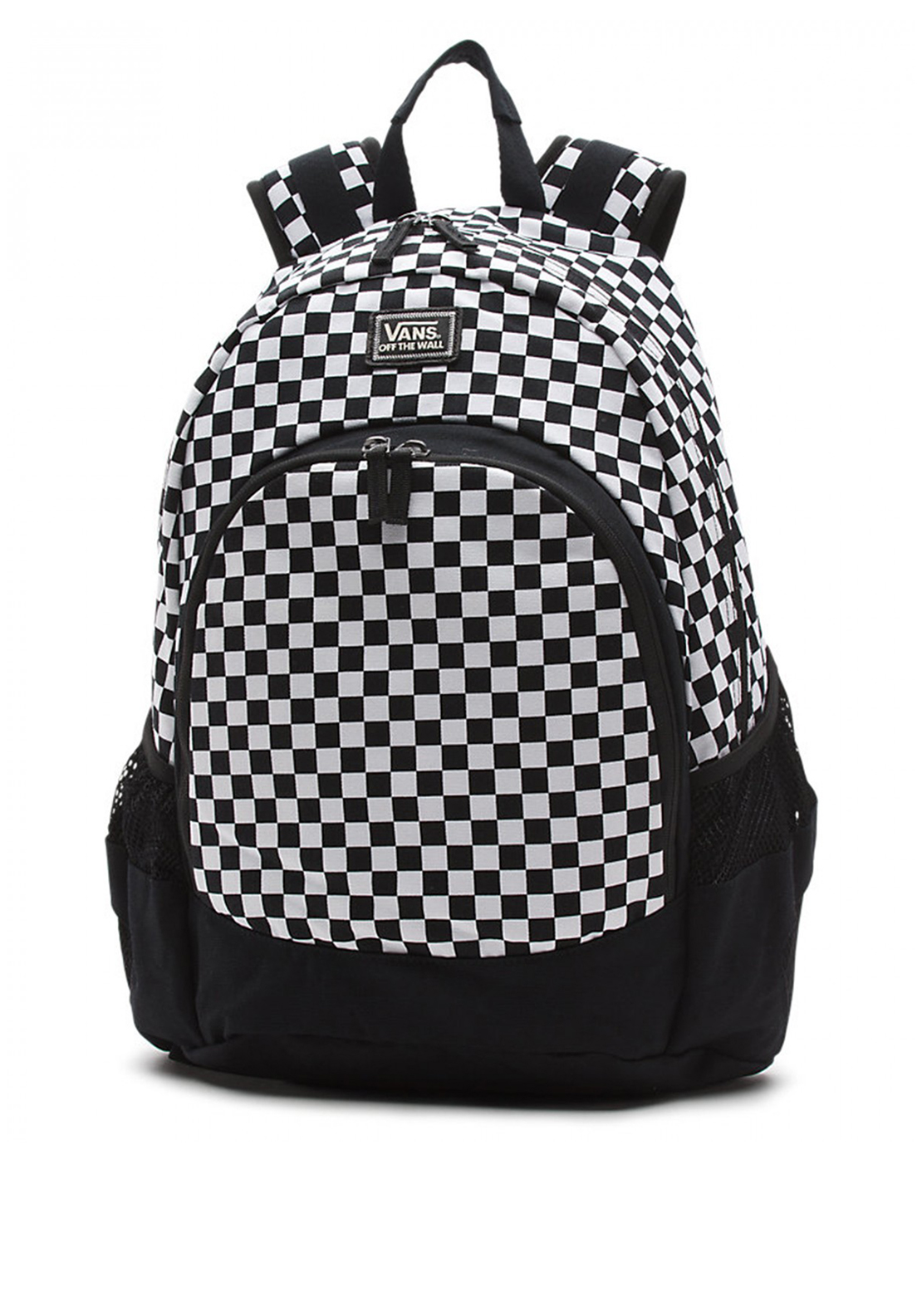 Vans Doren Chequered Backpack Schoolbag, Black and White