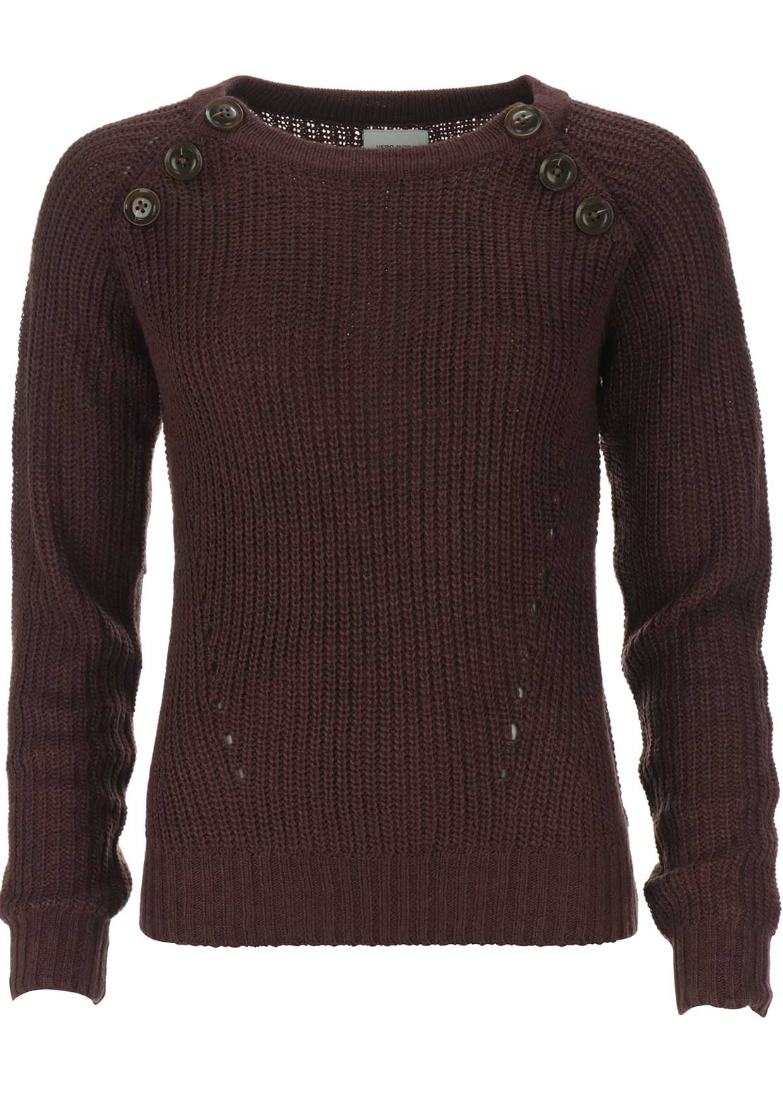 Vero Moda Joya Button Knit Jumper, Wine