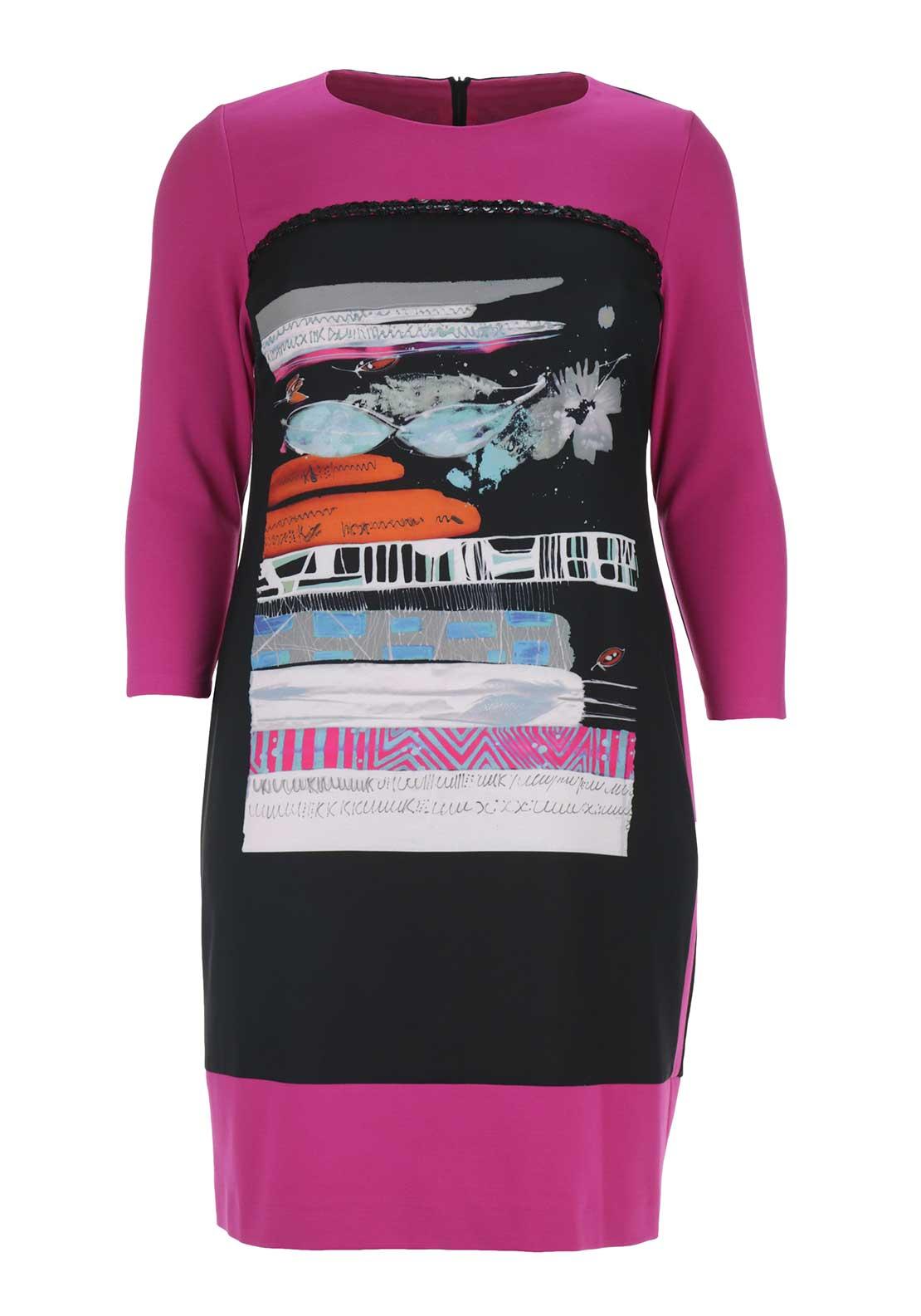 Via Veneto Graphic Print Cropped Sleeve Jersey Dress, Pink and Black