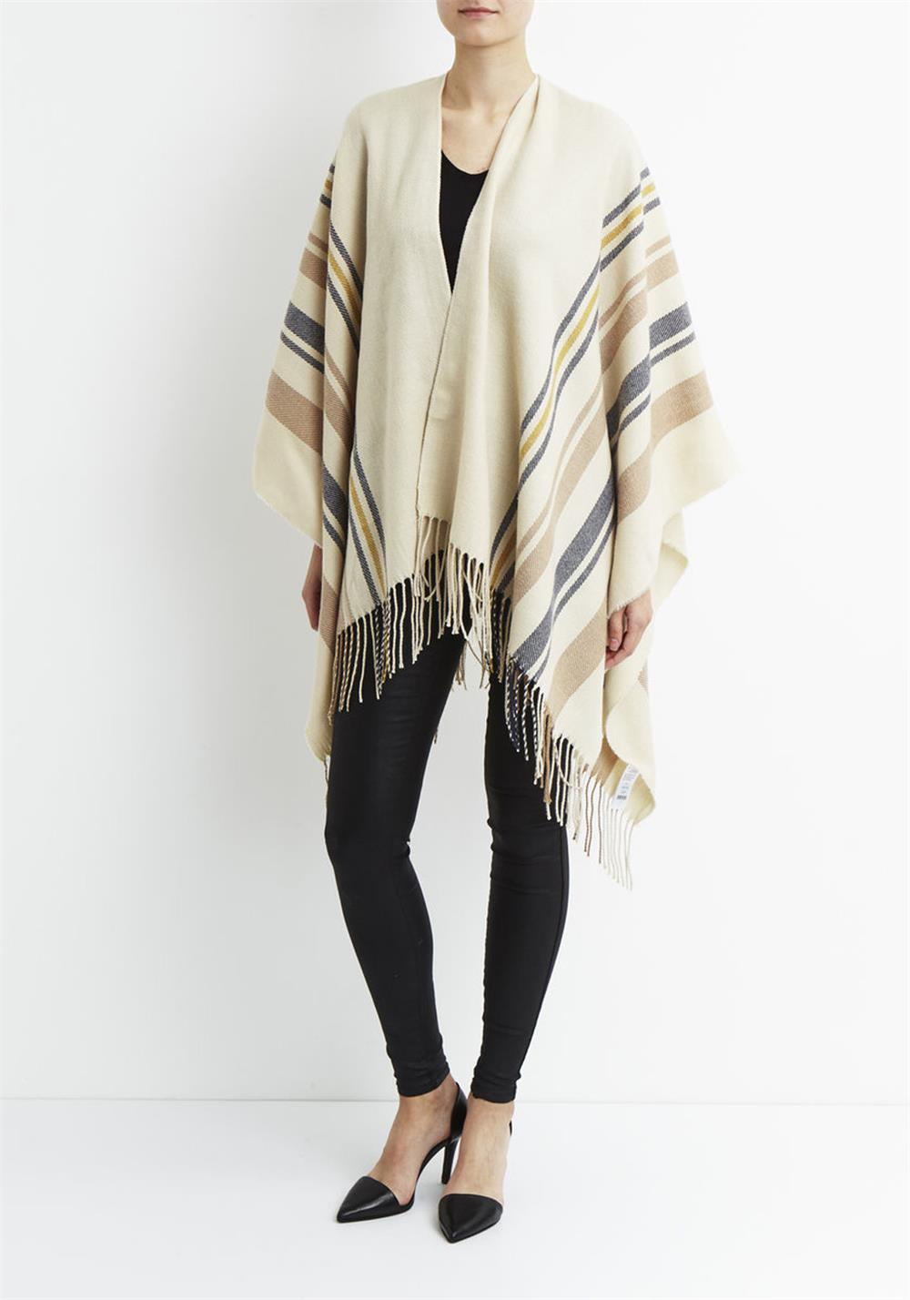 Vila Bon Striped Tassel Cape, Sandshell