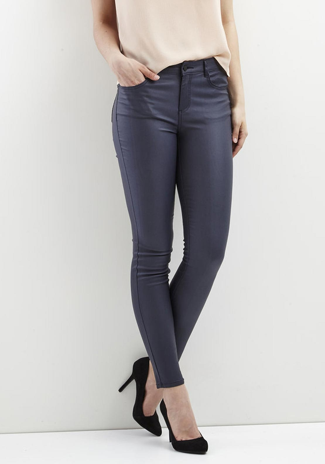 Vila Commit Coated Skinny Jeans, Navy