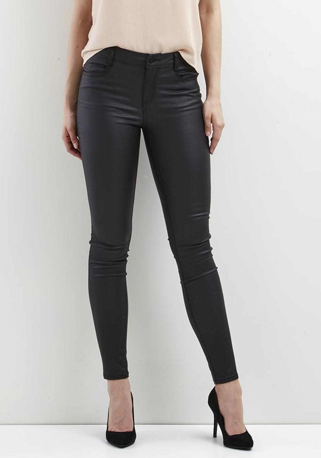 Vila Commit Coated Skinny Jeans, Black