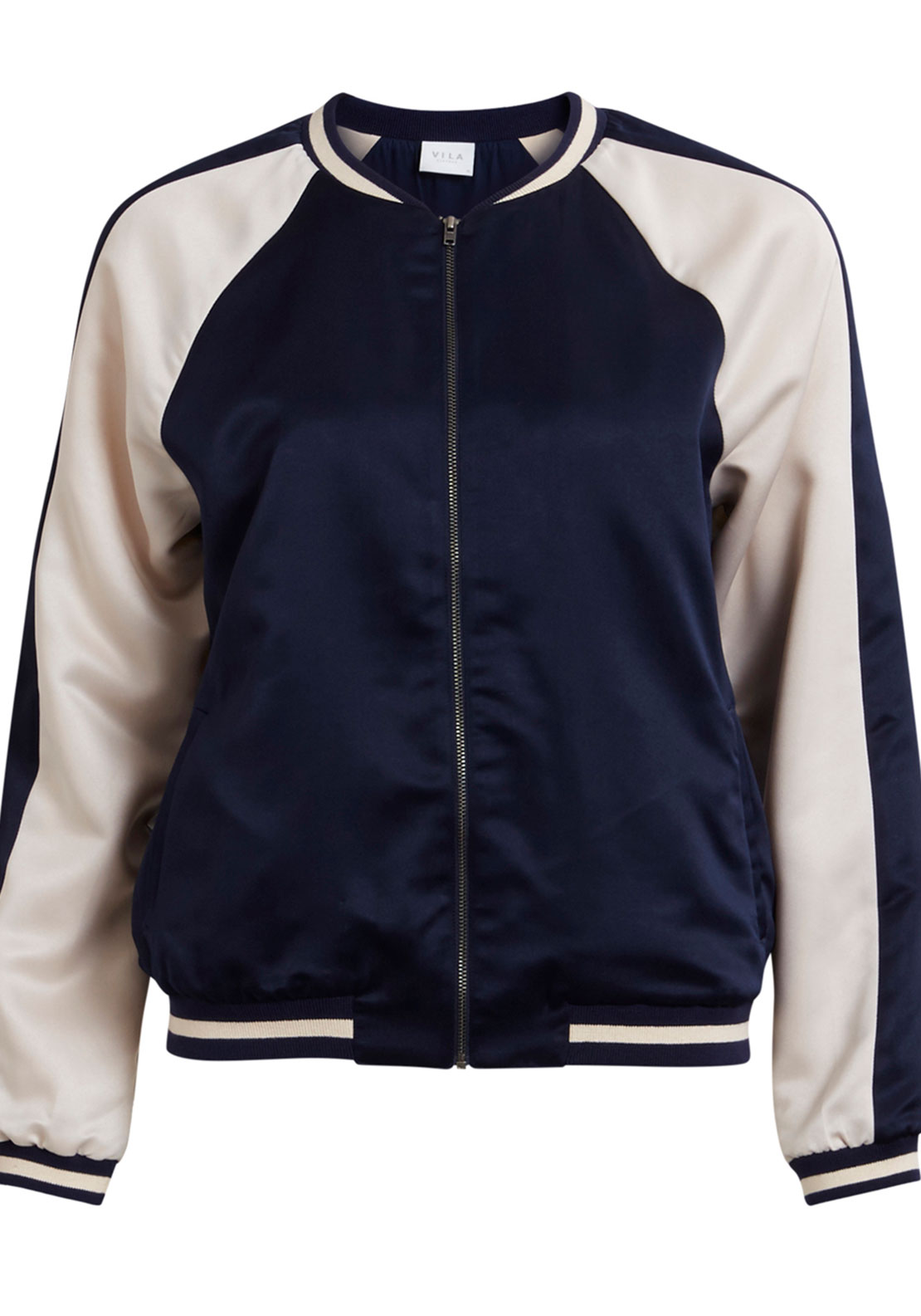 Vila Adobe Satin Bomber Jacket, Navy