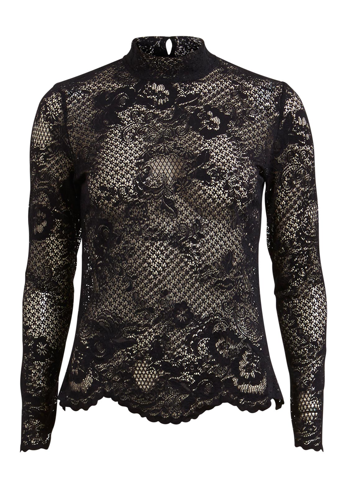 Vila Loras Lace High Neck Top, Black