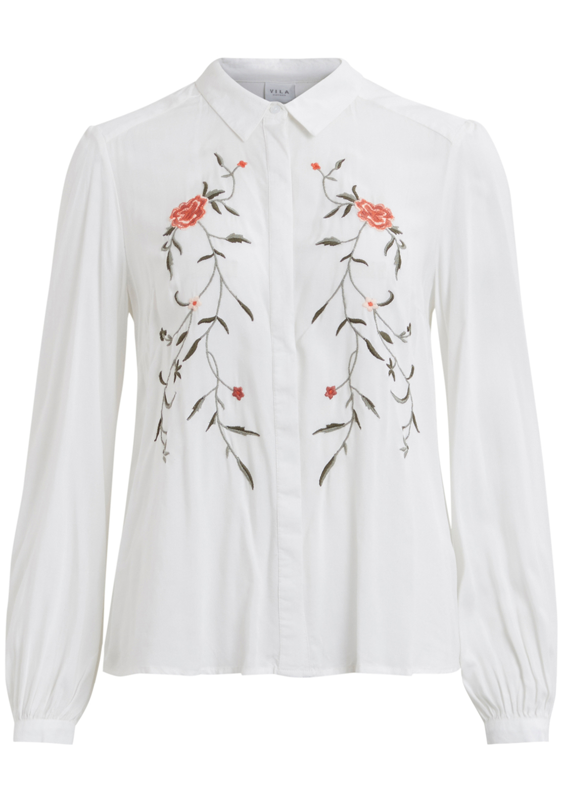 Vila Brodie Embroidered Shirt, White