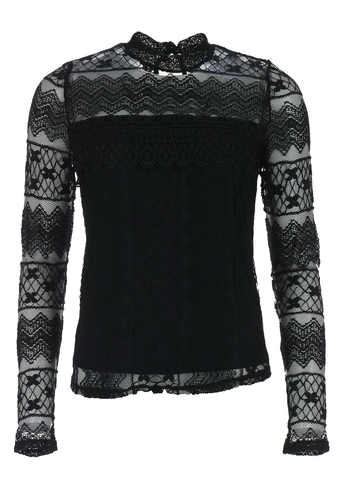 Vila Gipa Lace Long Sleeve Top, Black