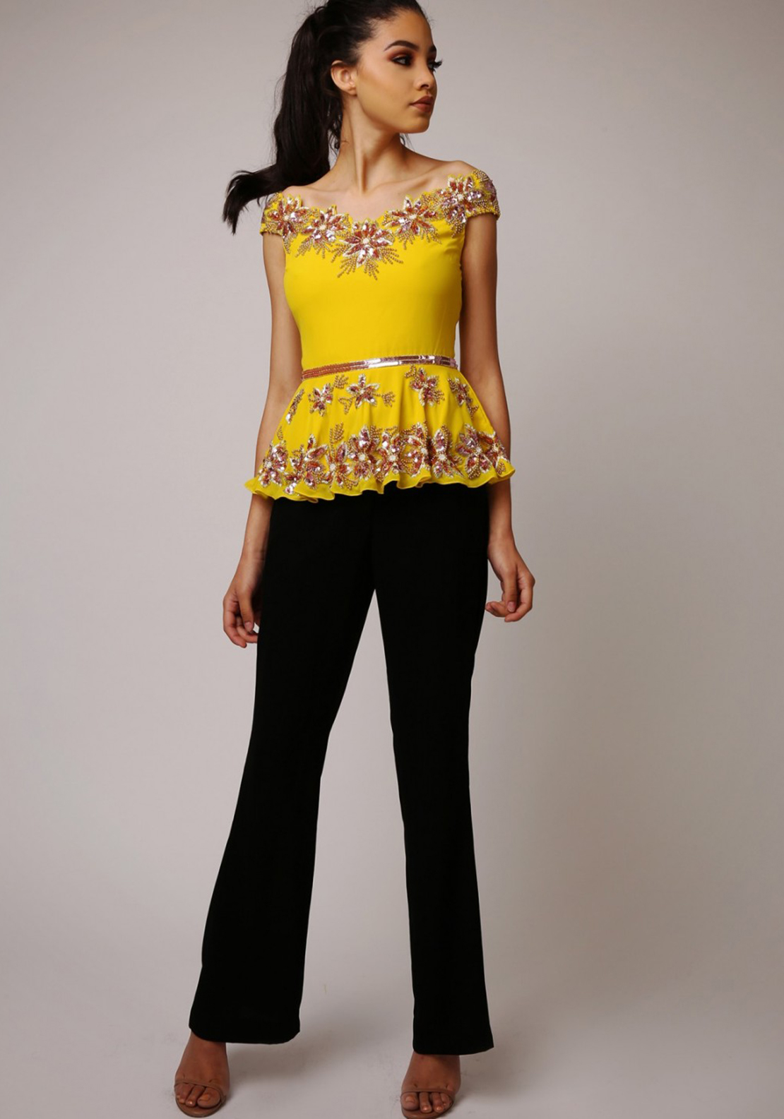 Virgos Lounge Yona Embellished Peplum Top, Yellow