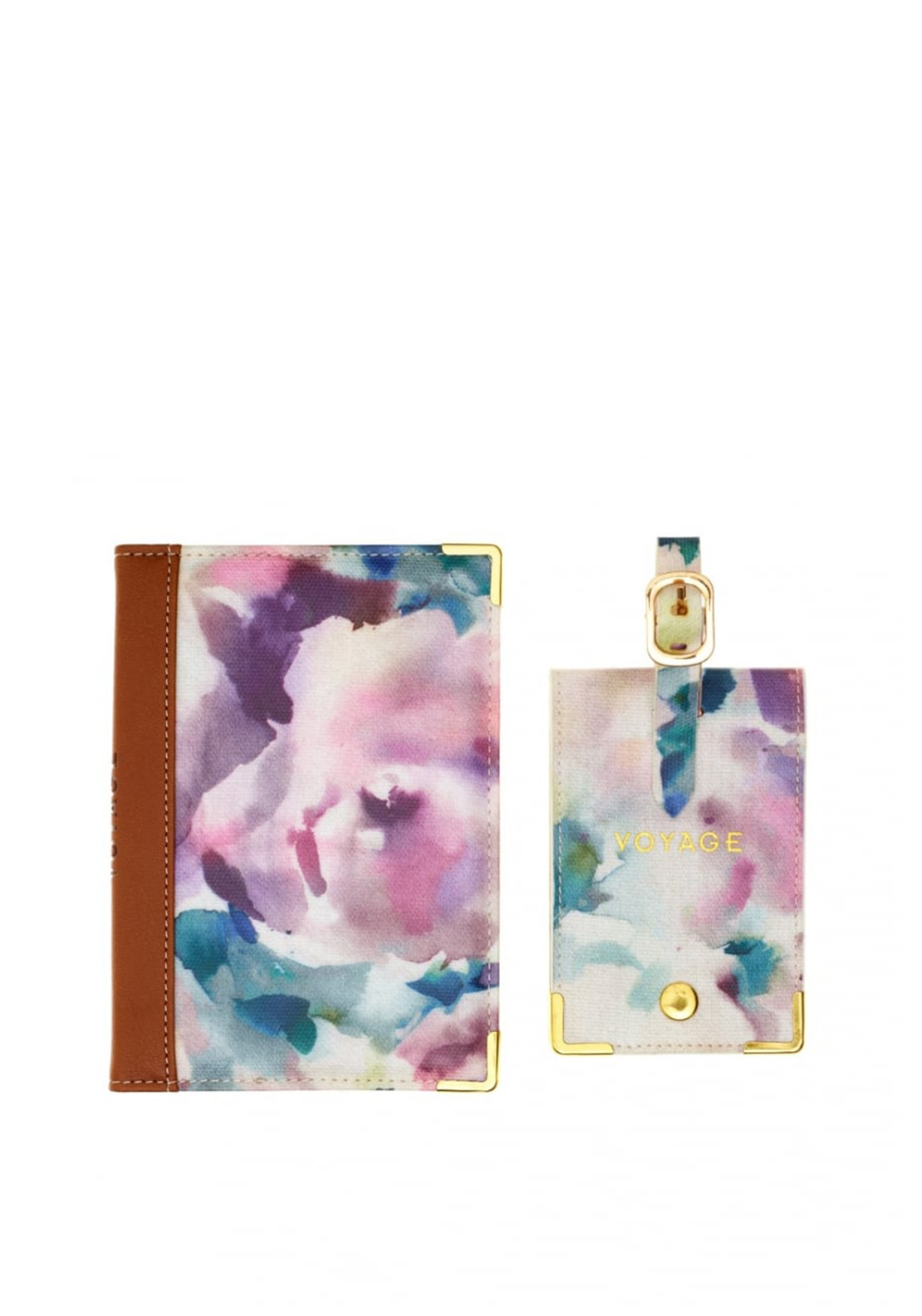 Voyage Purple Floral Passport Cover and Luggage Tag