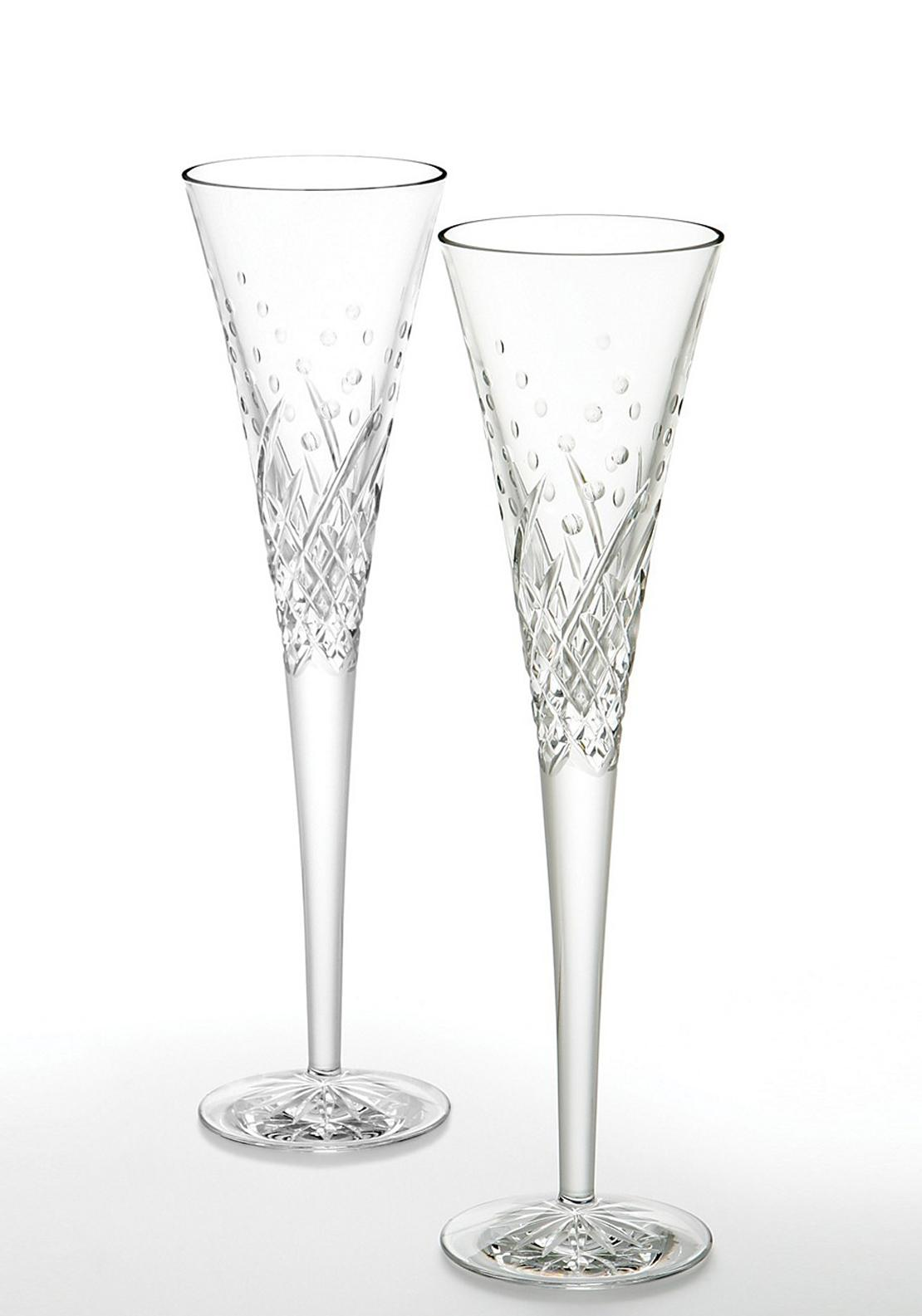 Waterford Crystal Happy Celebration Flute, Pair