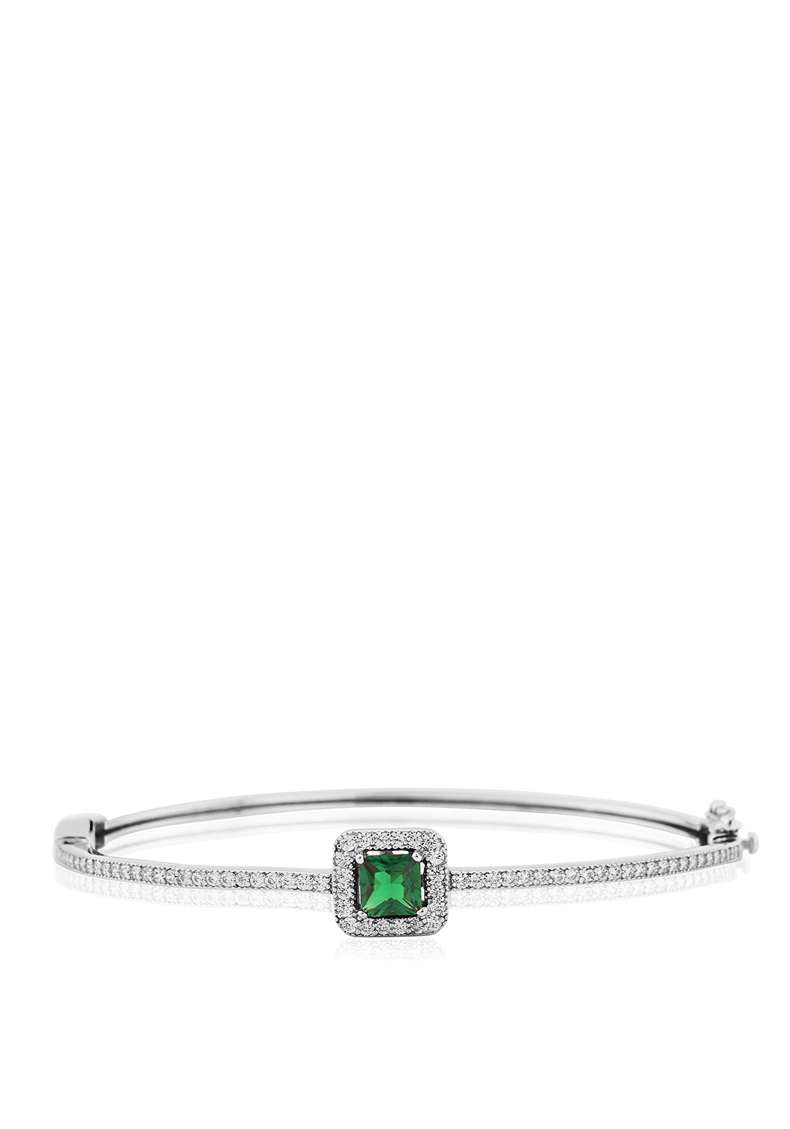 Waterford Crystal Faux Emerald and Pave Bangle, Silver