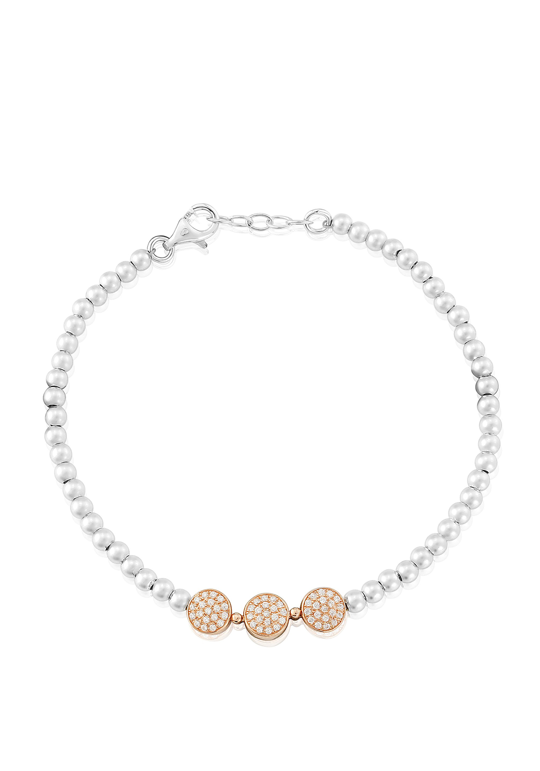 Waterford Crystal Rose Gold Charm Bead Bracelet, Silver