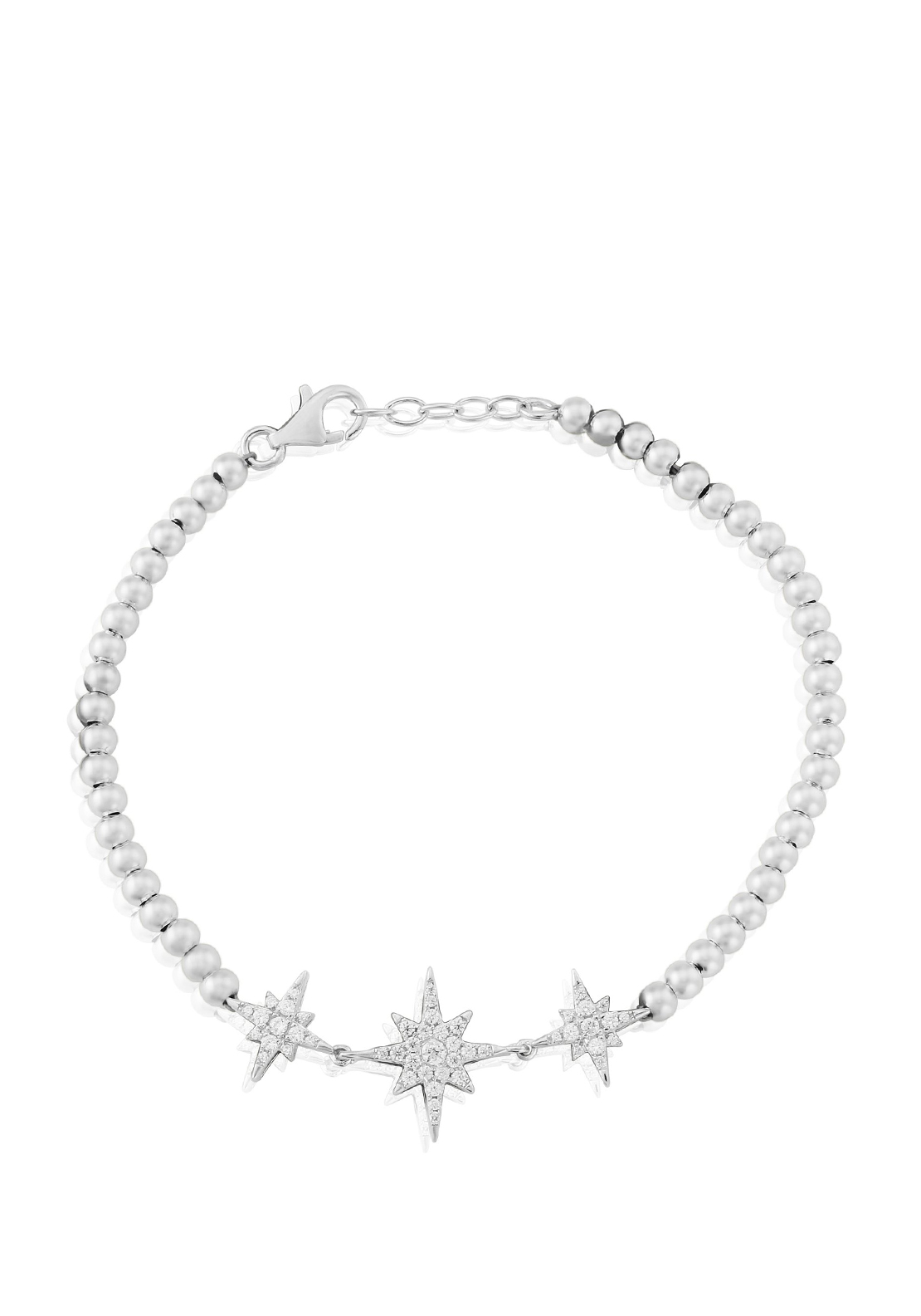 Waterford Crystal Pave Studded Beaded Toggle Bracelet, Silver