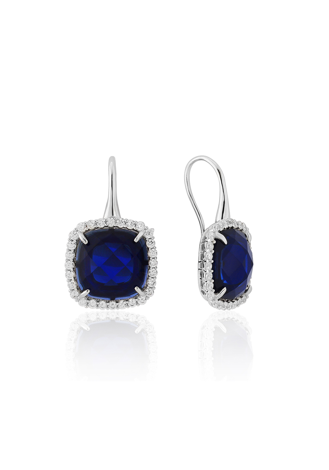 Waterford Crystal Faux Sapphire and Pave Drop Earrings, Silver