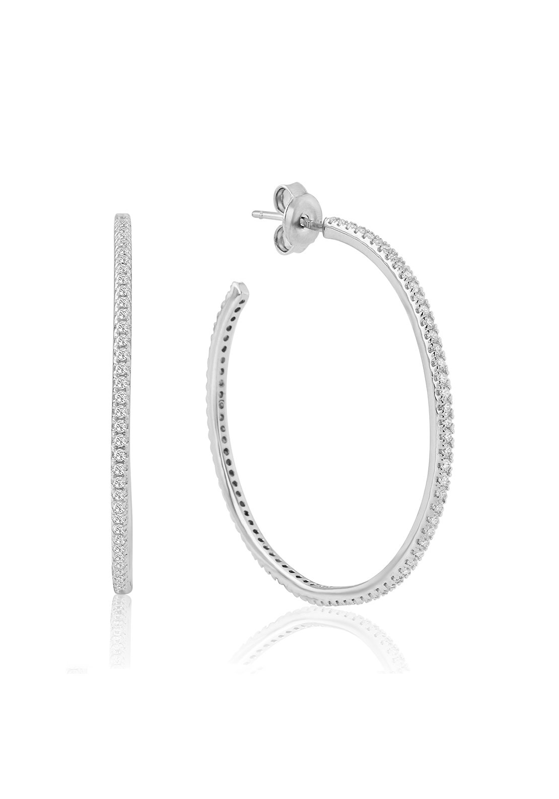 Waterford Crystal Pave Studded Hoop Earrings, Silver