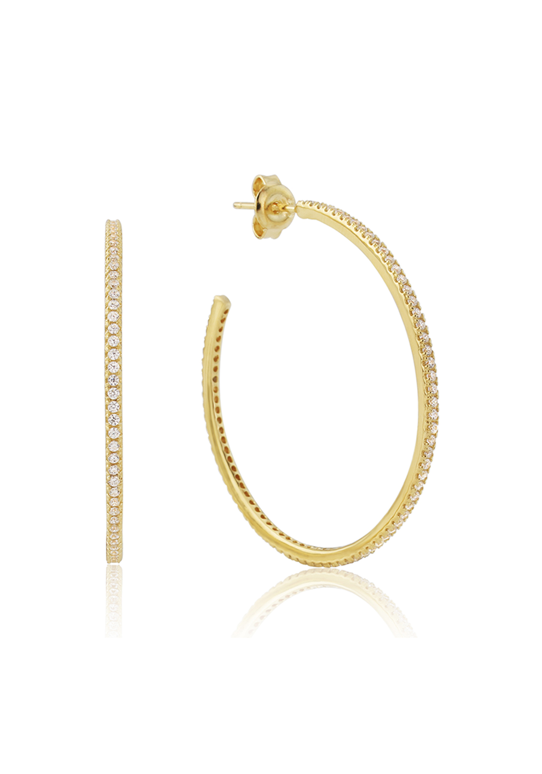 Waterford Crystal Pave Studded Hoop Earrings, Gold