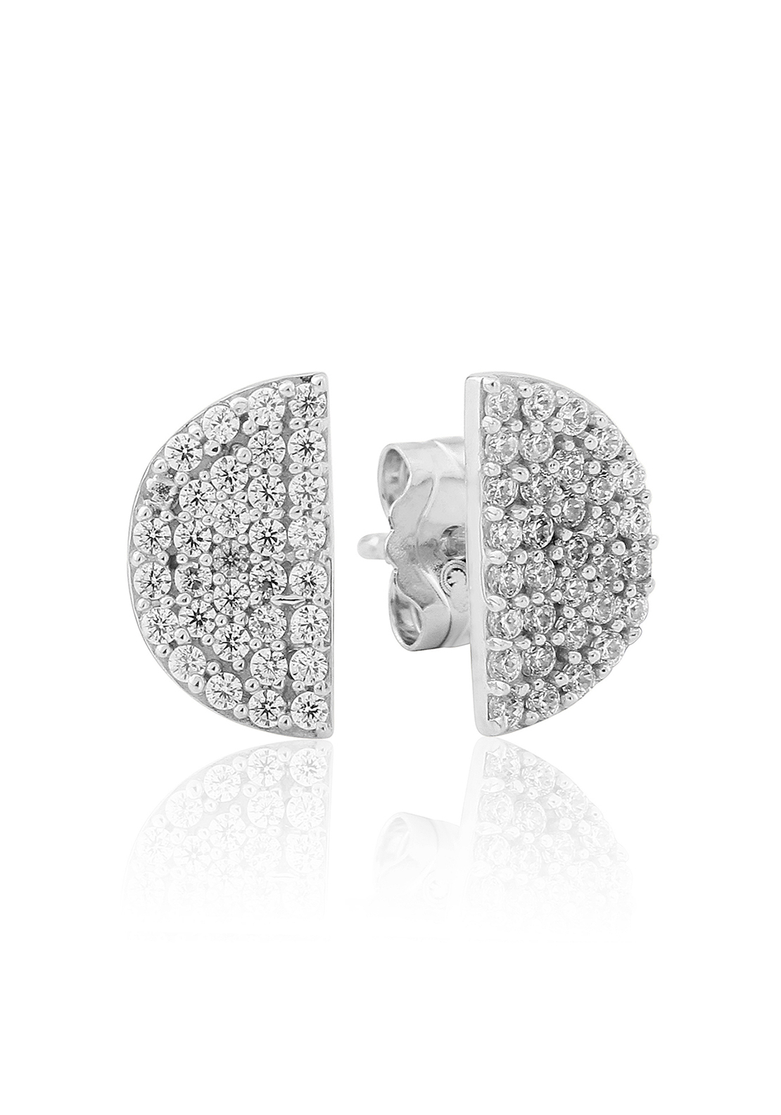 Waterford Crystal Pave Semi Circle Stud Earrings, Silver