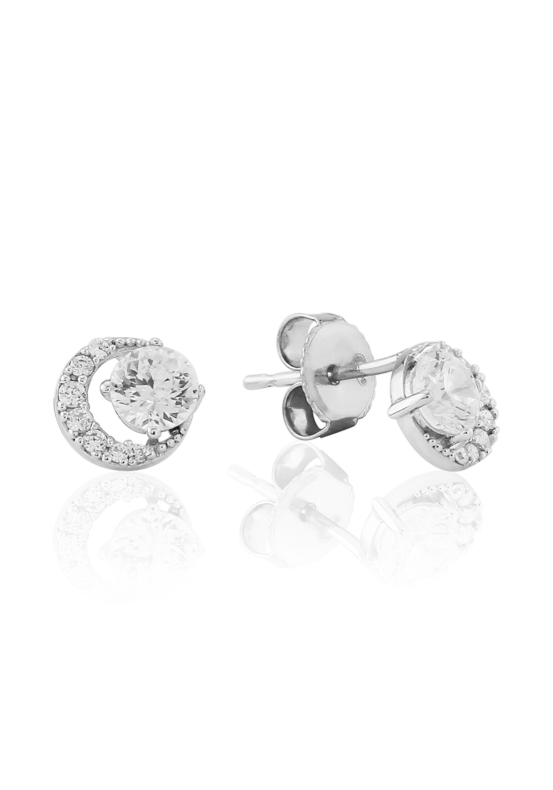 Waterford Crystal Interlinked Pave Stud Earrings, Silver