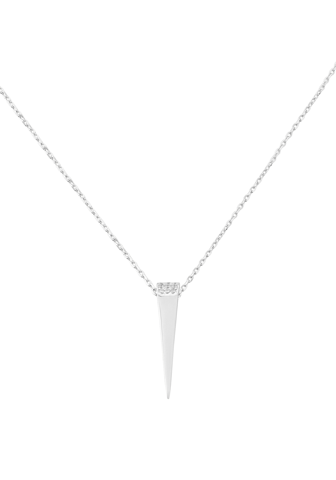 Waterford Crystal Pave Studded Dagger Pendant Necklace, Silver