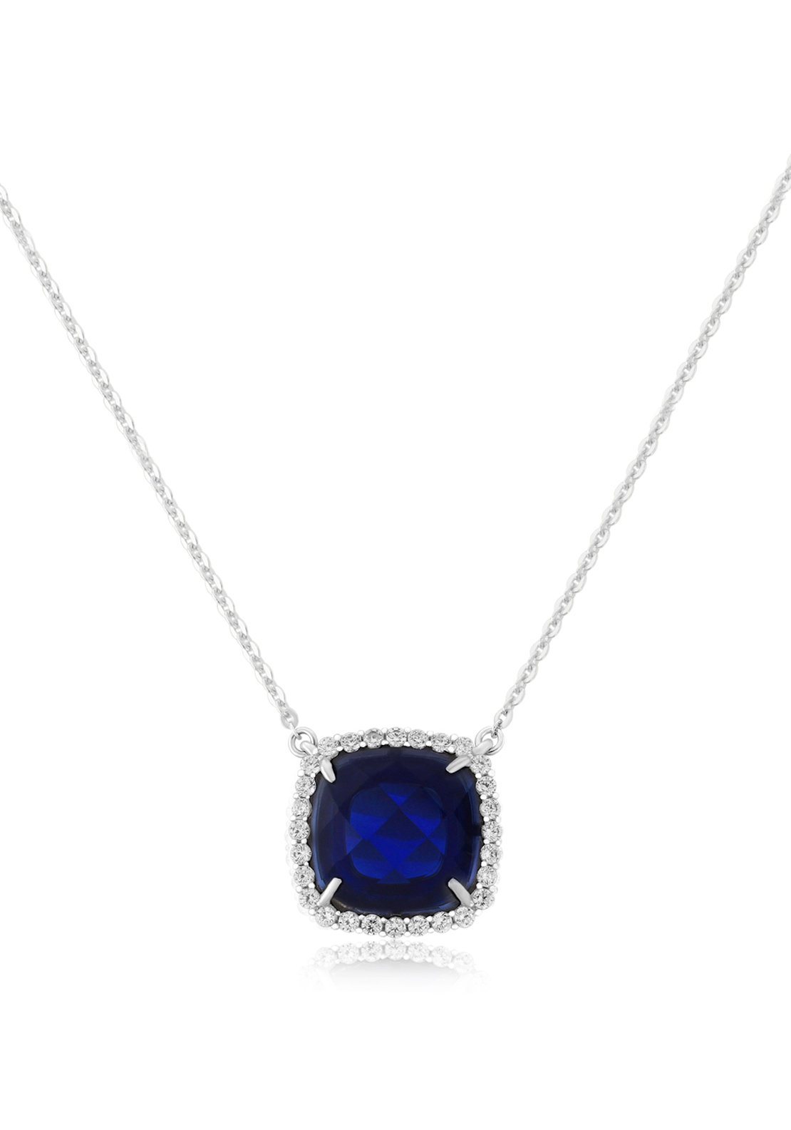 Waterford Crystal Square Faux Sapphire and Pave Pendant Necklace, Silver