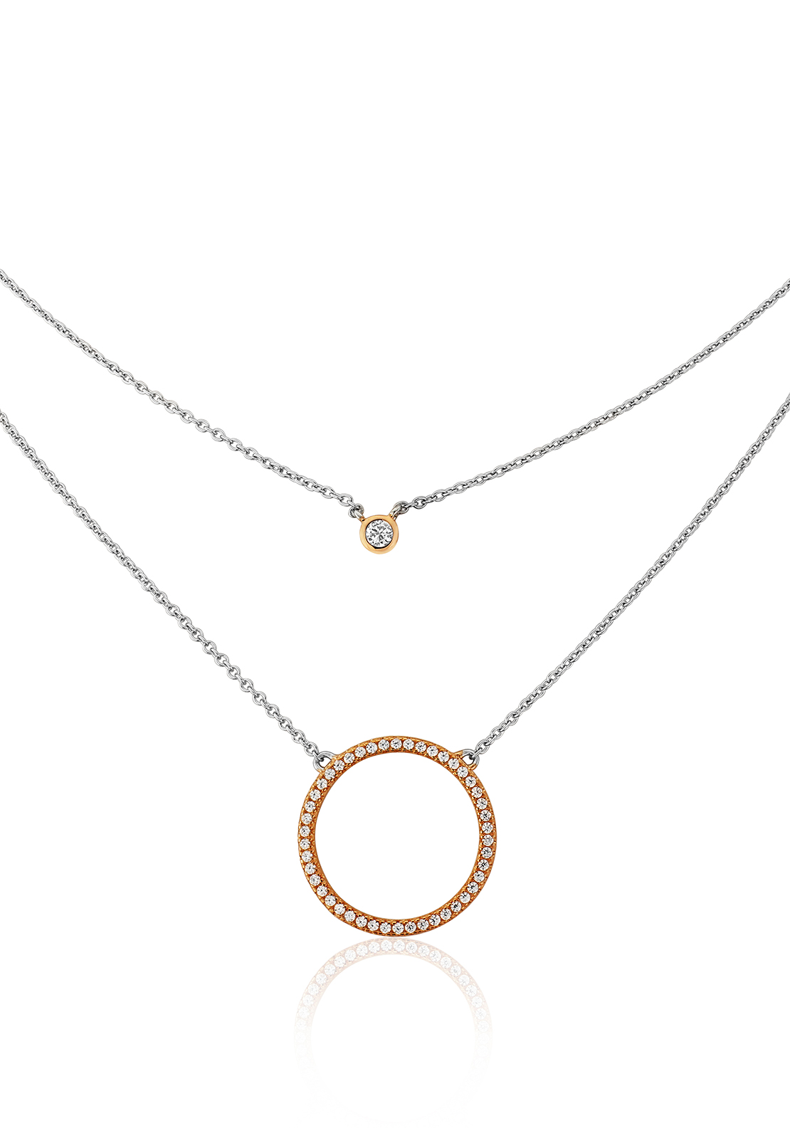 Waterford Crystal Double Layer Disc Pendant Necklace, Silver