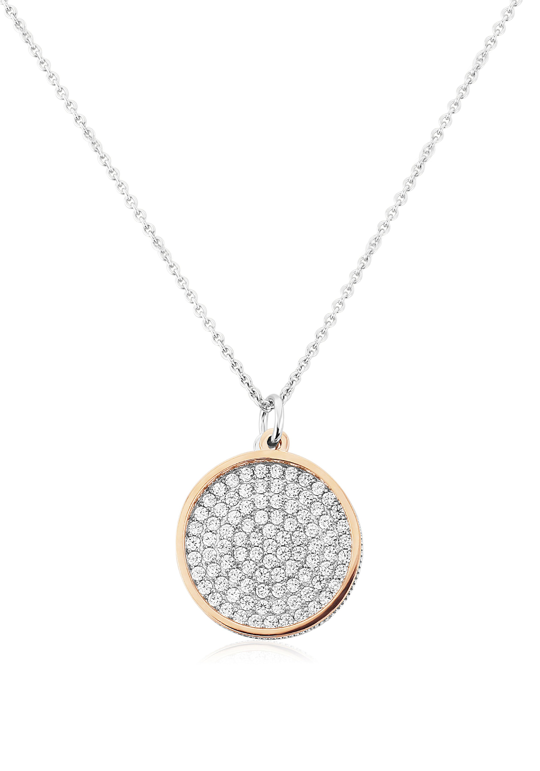 Waterford Crystal Pave Studded Disc Pendant Necklace, Silver