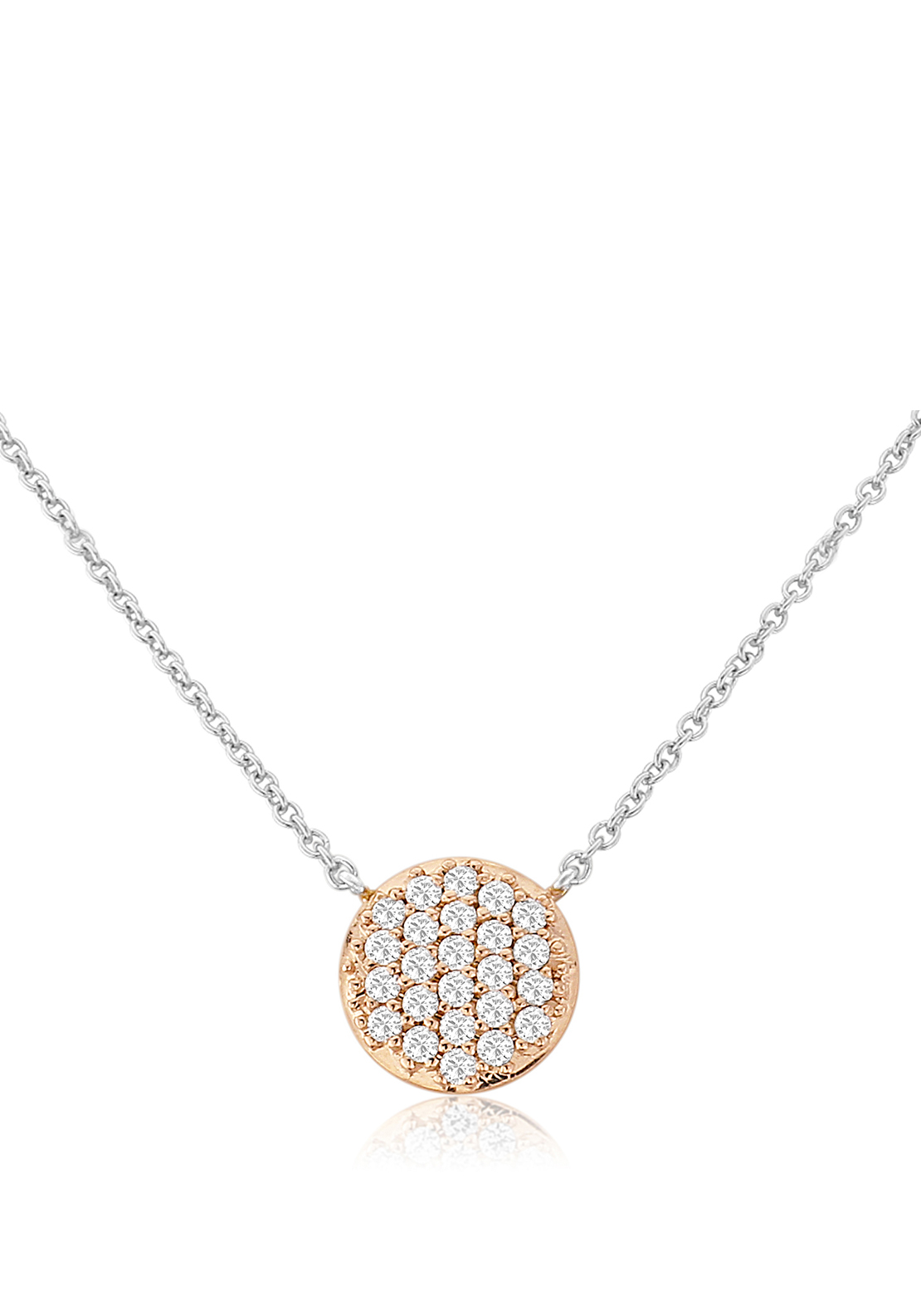 Waterford Crystal Pave Studded Rose Gold Pendant Necklace, Silver