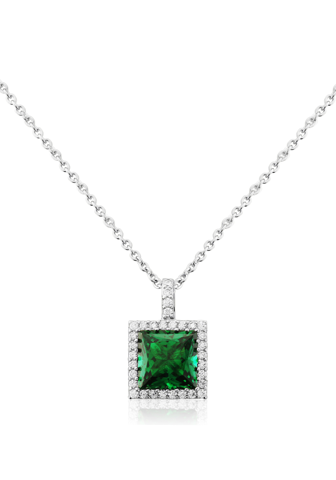 Waterford Crystal Square Faux Emerald and Pave Pendant Necklace, Silver