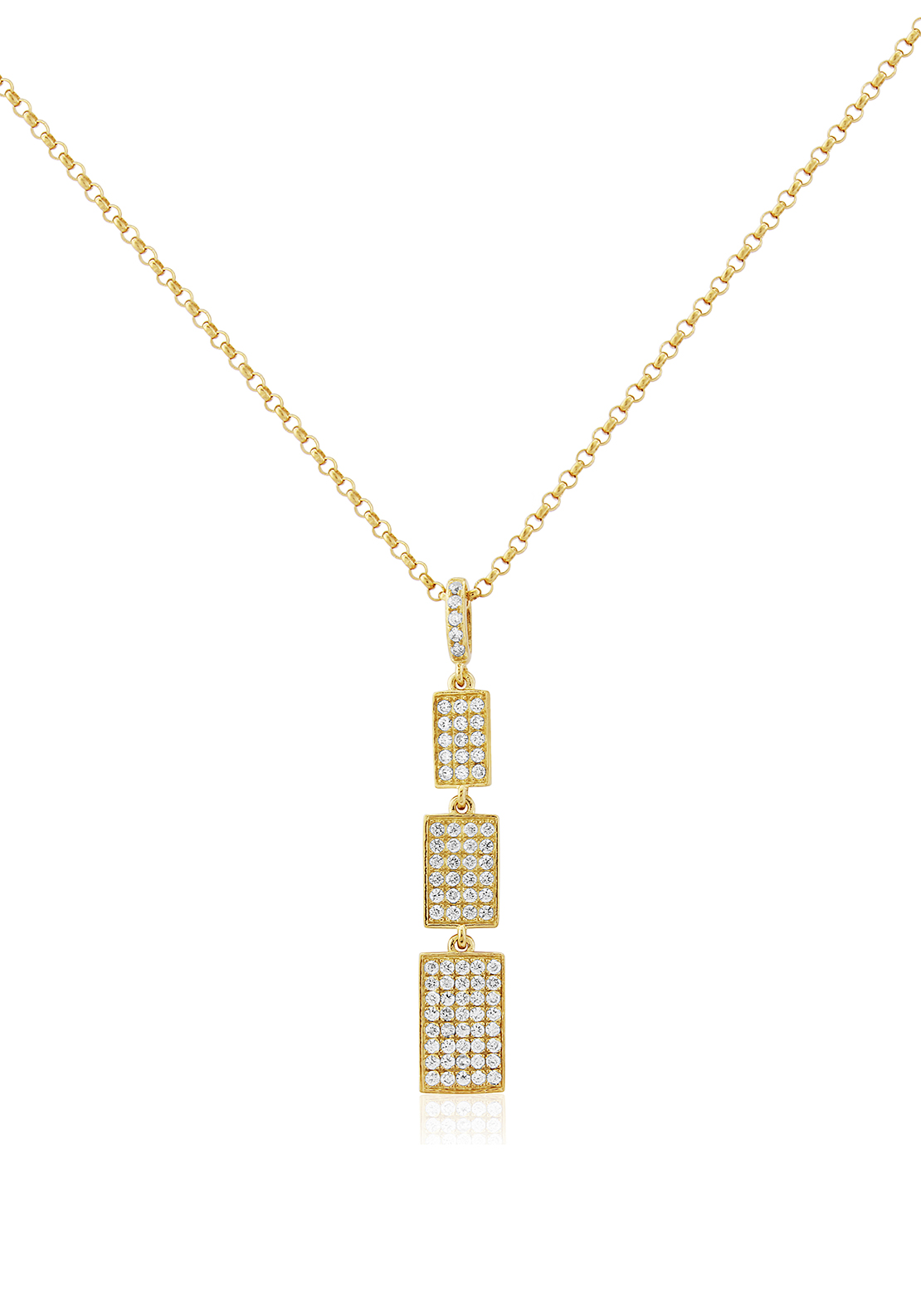 Waterford Crystal Rectangle Pendant Necklace, Gold