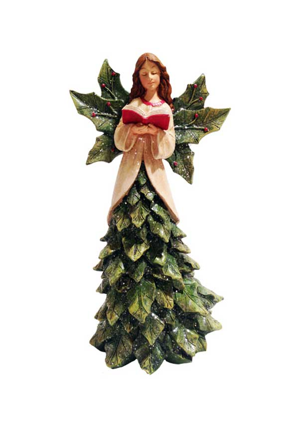 Willow Brooks Winter Holly Christmas Angel with Book 28cm