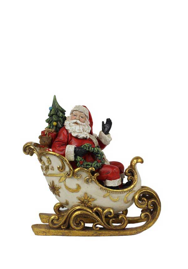 Willow Brooks Winter Holly Santa's Sleigh Ornament