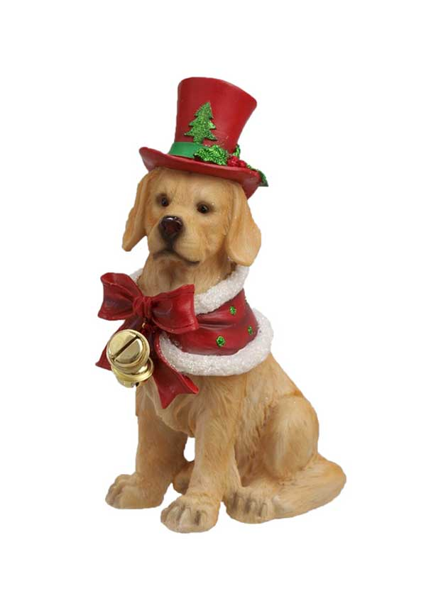 Willow Brooks Winter Holly Golden Dog with Red Hat