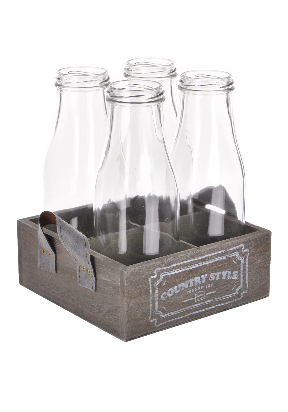 Yorkshire Collection Milk Bottles on Wooden Tray, set of 4