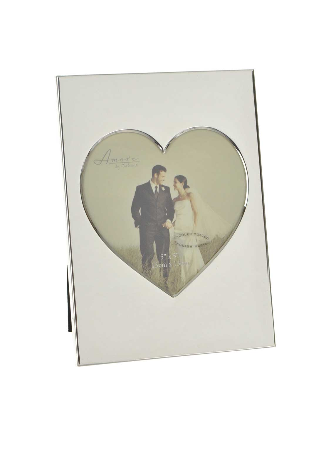 "Amore by Juliana Silver Plated Photo Frame with Heart, 5"" x 5"""