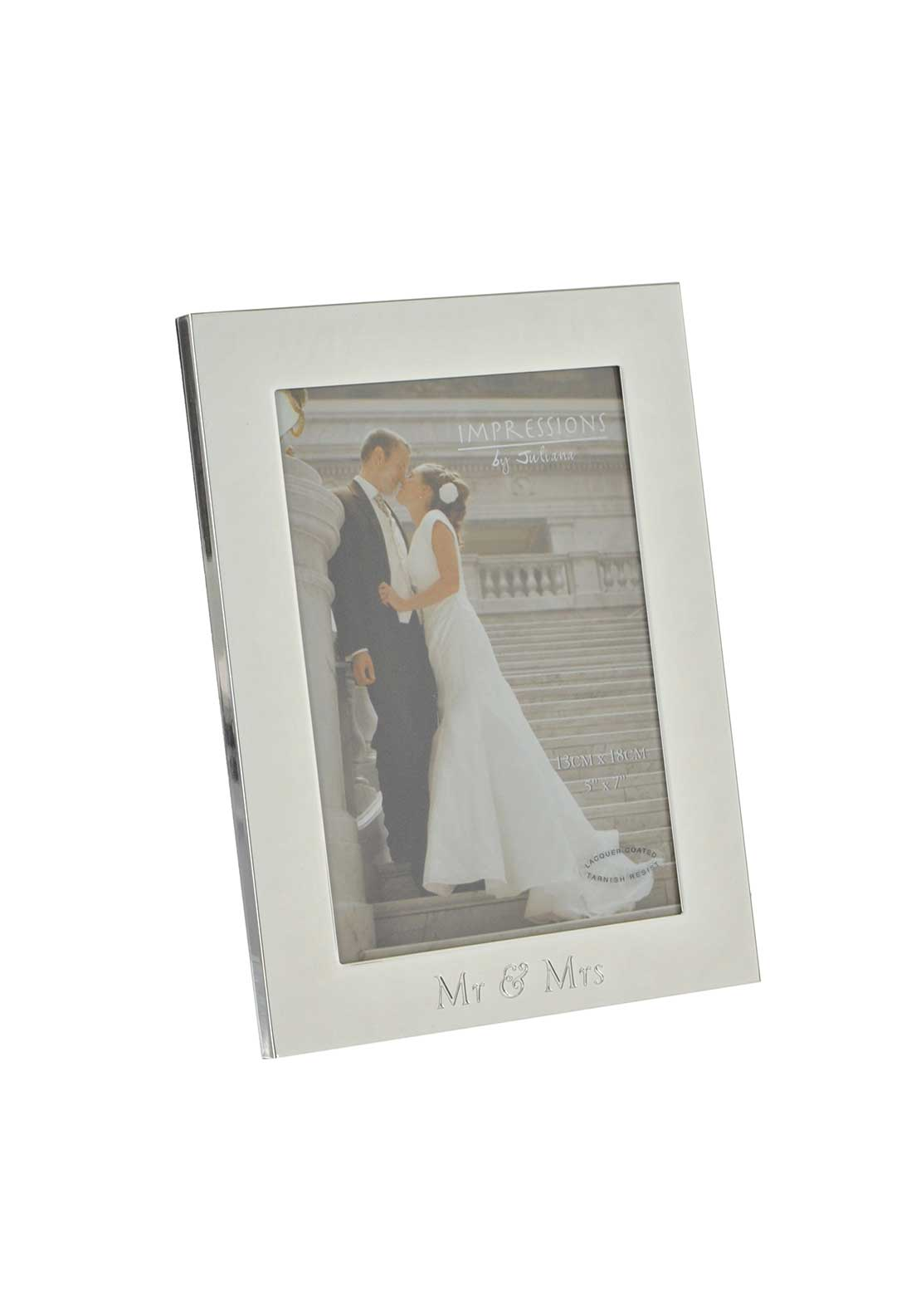 "Impressions by Juliana Mr & Mrs Silver Plated Photo Frame, 5"" x 7"""