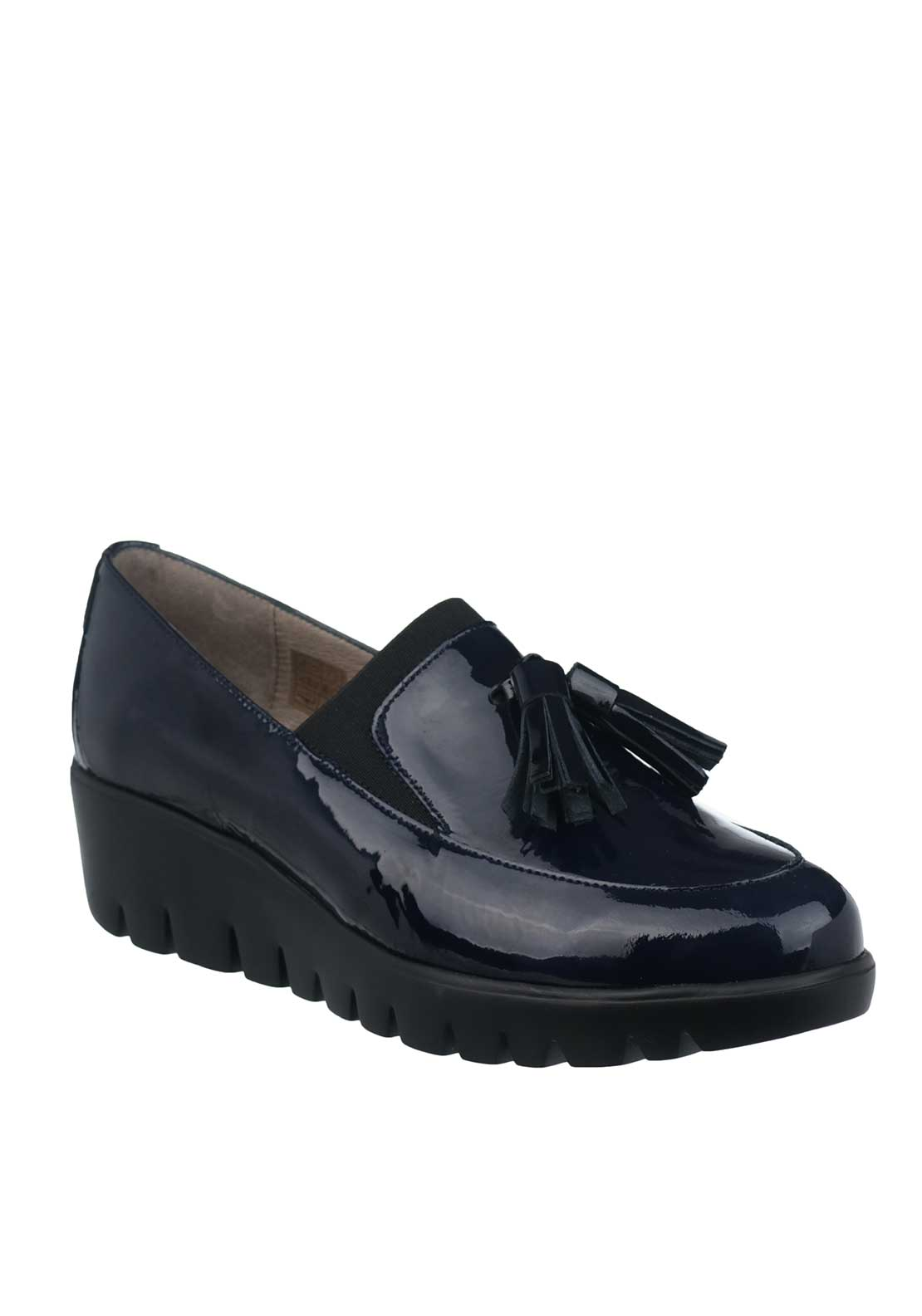 Wonders Fly Patent Leather Wedged Loafers, Navy